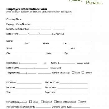 employee information form pdf 47 printable employee information forms personnel