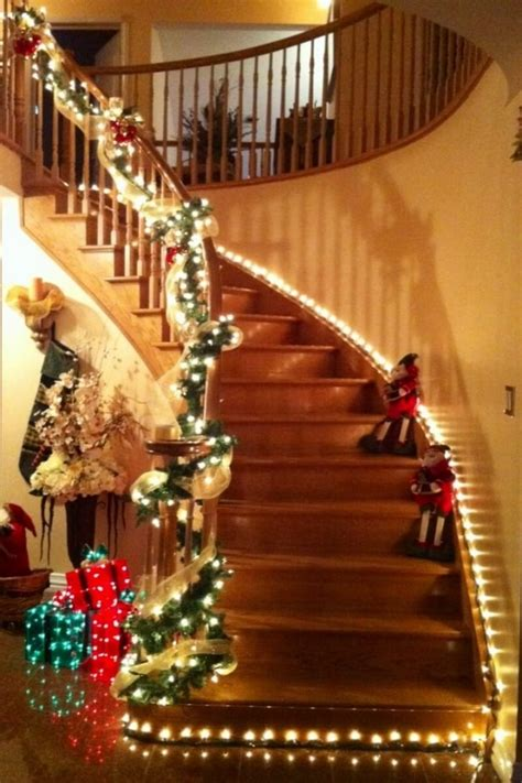lighted garland for staircase top 15 christmas stairs decor for a festive staircase