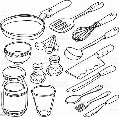 Utensils Kitchen Sketch Vector Drawing Tools Illustration