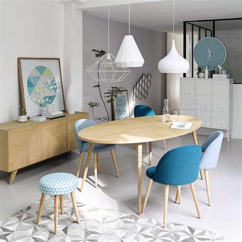 maison du monde siege tabouret motif triangles en coton bleu et bois tables de