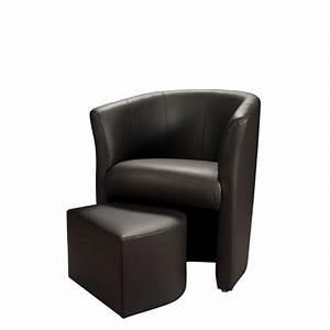 Baya fauteuil en simili cabriolet pouf noir achat for Petit fauteuil cabriolet