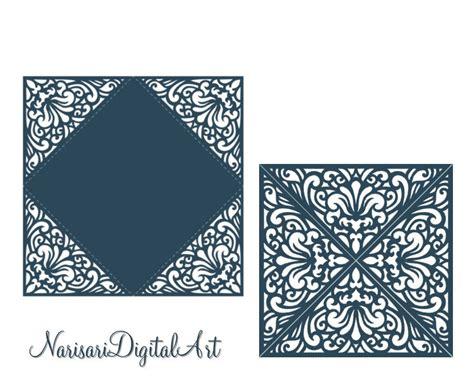 Laser cut card pattern Wedding Invitation Four fold