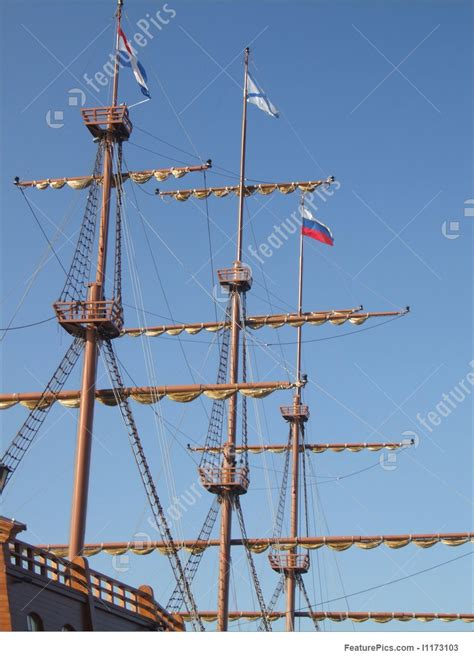 sailing ship masts  flags stock picture