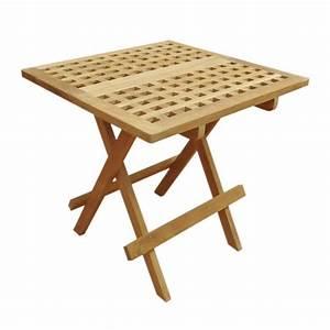 Petite Table Basse Pliante : table basse pliante carr e en teck 50x50 cm achat vente table basse jardin table basse ~ Melissatoandfro.com Idées de Décoration