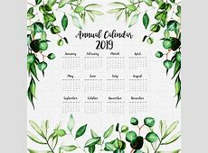 2019 annual calendar with watercolor leaves Vector