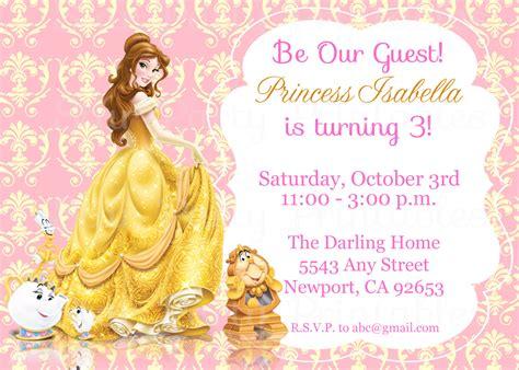 princess belle beauty  beast invitation kids