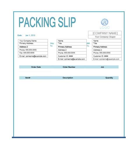 Packing Slip Template 30 Free Packing Slip Templates Word Excel Template