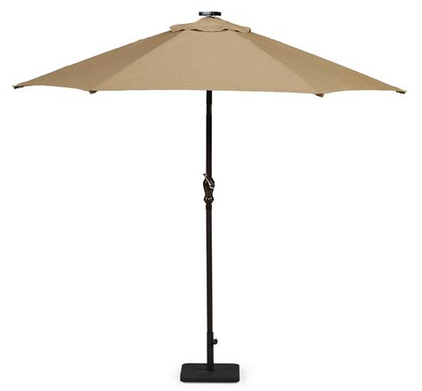 essential garden market umbrella with solar lights