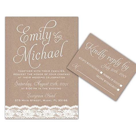 wedding invitations lace rustic design envelopes