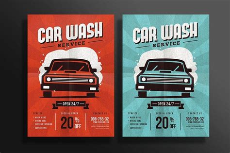 car wash flyer designs examples psd ai word