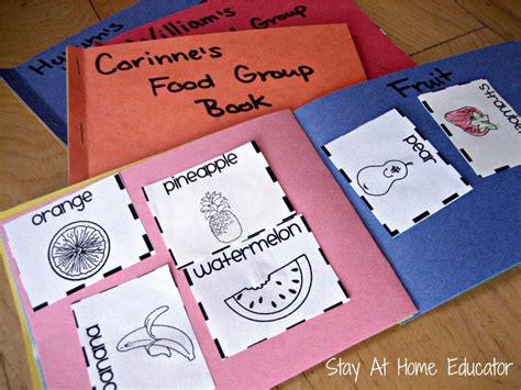 eight food and nutrition theme preschool activities 988 | Food Group Sorting Book Stay At Home Educator 1000x750