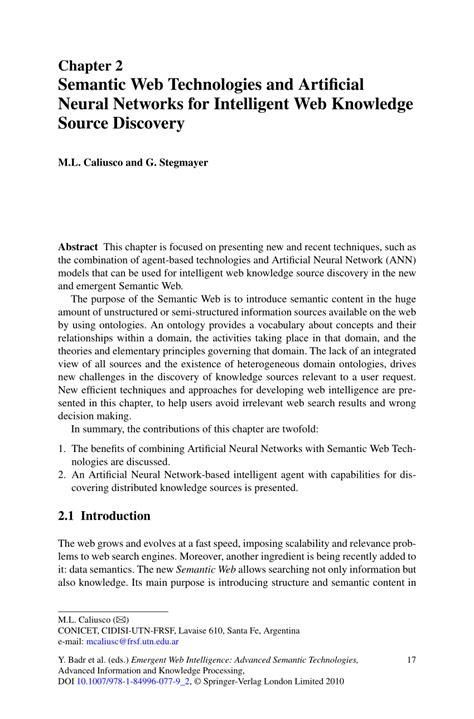 (PDF) Semantic Web Technologies and Artificial Neural