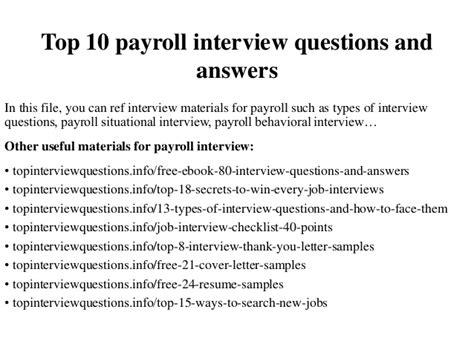 top  payroll interview questions  answers
