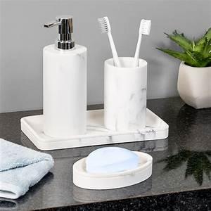 4-piece, Marble, Bathroom, Accessories, Set, -, Walmart, Com