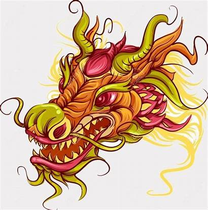Dragon Chinese Head Clipart Vector Designs Colorful
