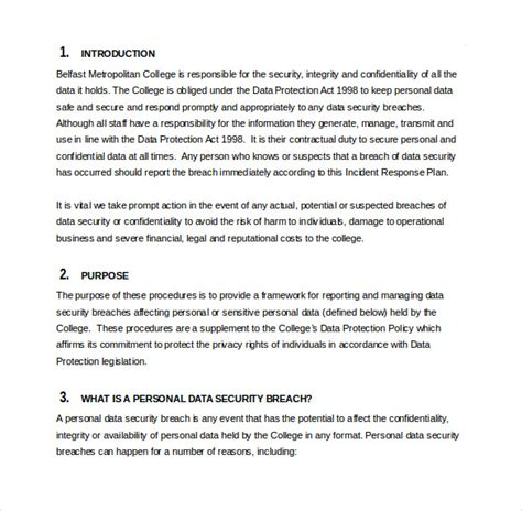 Information Security Incident Response Plan Template by 11 Incident Response Plan Templates Free Sle