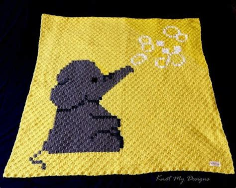 elephant blowing bubbles baby blanket graphghan knot