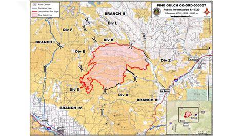pine gulch fire grows   acres  western colorado
