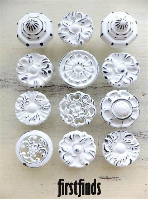 shabby chic hardware 12 knobs shabby chic drawer pulls misfit white kitchen cabinet painted hardware dresser cupboard