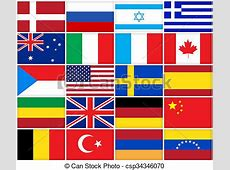 Many flags of different countries Collage of many