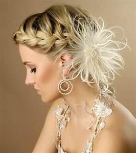 Coiffure Pour Cheveux Mi Longs : photo coiffures mariage cheveux mi longs tresse avec chignon ~ Melissatoandfro.com Idées de Décoration