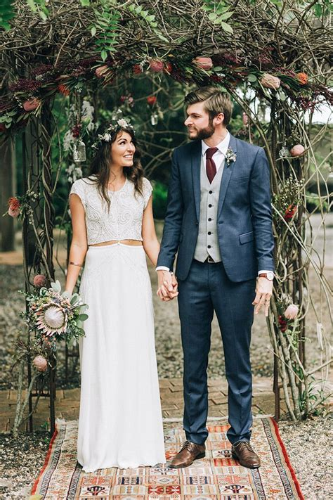 Rustic Boho Bride And Groom In Front Of Australian Native