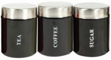 black kitchen storage canisters set of 3 black tea coffee sugar kitchen storage canisters 4720