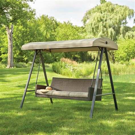 hton bay plaistow 3 person wicker outdoor swing with canopy gcs00225b the home depot