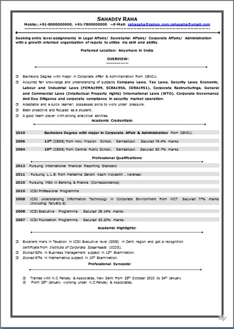 excellent resume templates 2014 resume co excellent resume sle of icsi professional llb mba in banking finance