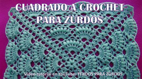 tutorial para zurdos cuadrado a crochet paso a paso en punto abanicos para colchas y cojines