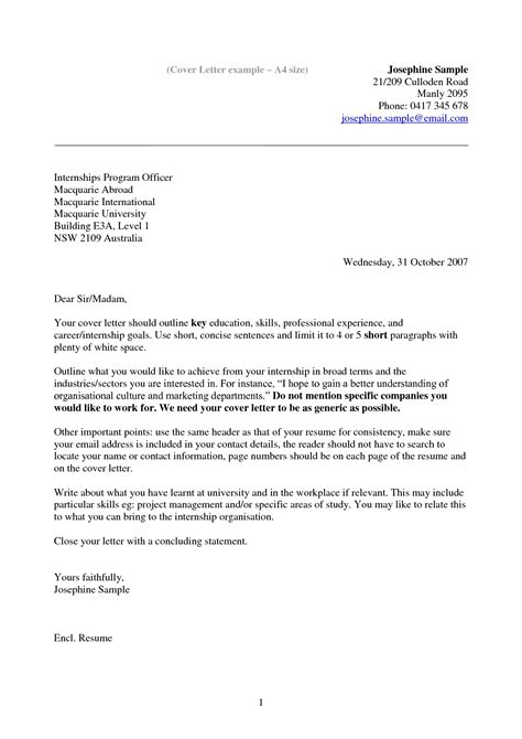 How To Write A Cover Letter For A Story by Exle Of Cover Letter For Resume Template