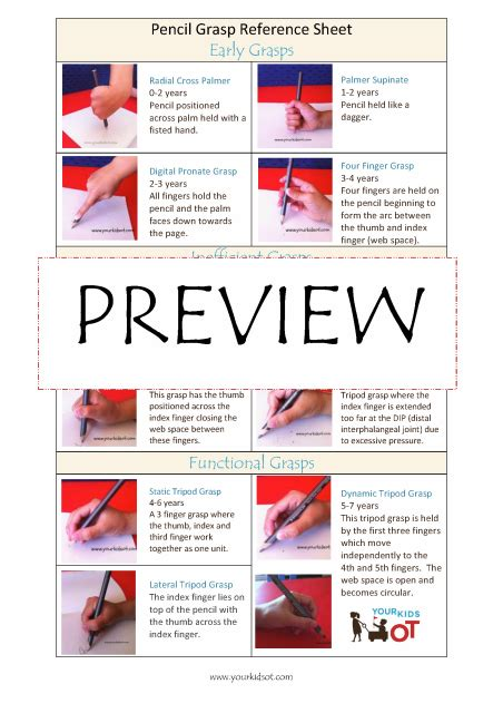 pencil grasp reference sheet pediatric occupational