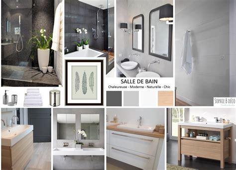 Planche Tendance Salle De Bain En Gris, Blanc Et Bois