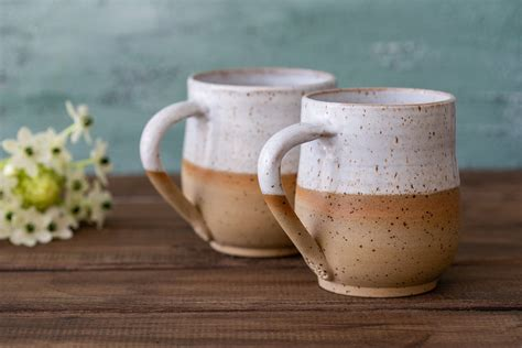 Order your unique ceramic pottery mugs and stoneware from deneen since all of our pottery is made by hand, at times there will be slight differences in size, color, and glaze consistency. Set of 2 Pottery White Coffee Mug, Ceramic Home Wedding Gift, Large Pottery Mug, Coffee Tea ...