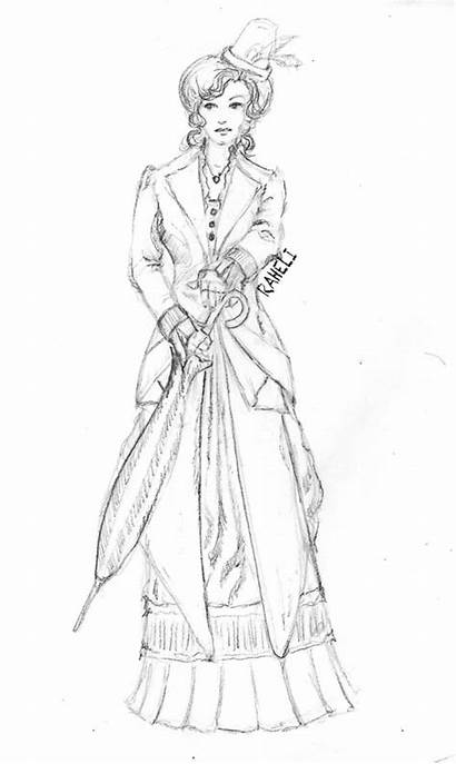 Victorian Coloring Sketches Outfit Designs Pages Summer
