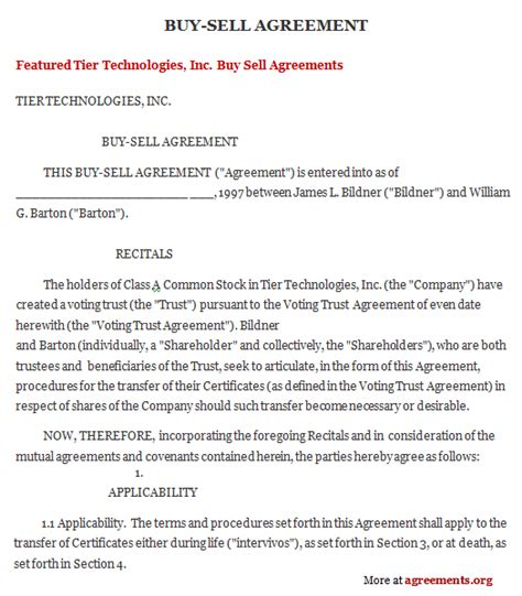sample buy sell agreement template  printable documents