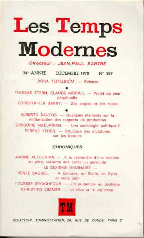 revue les temps modernes acam livres arm 233 niens revue les temps modernes