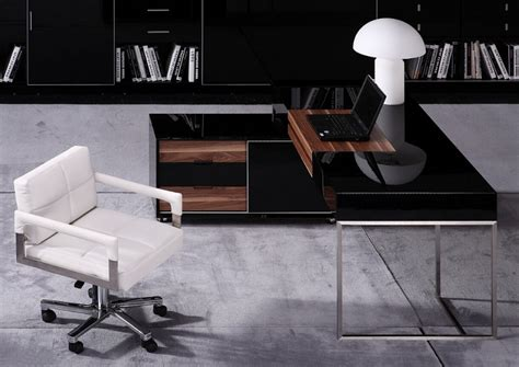 Modrest Ezra Black Gloss And Walnut Office Desk W Side