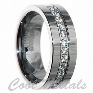 8mm tungsten carbide 1 carat 13 stones bridal men wedding With mens wedding rings with stones