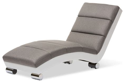 upholstered chaise lounge chairs percy upholstered chaise lounge gray fabric and white
