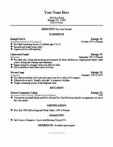 daycare teacher resume template free printable With daycare resume sample