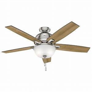 Hunter 52 U0026quot  Donegan Brushed Nickel Ceiling Fan With Light