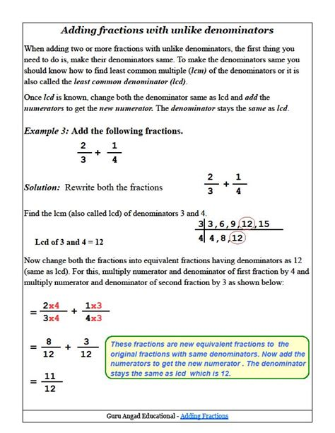 how to add fractions with unlike denominators common