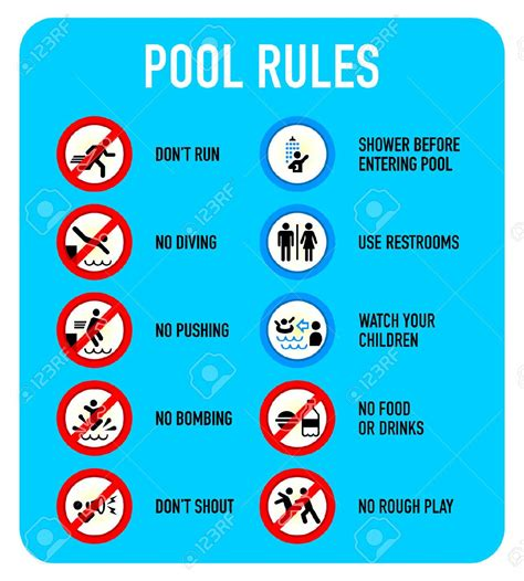 Swimming Pool Rules And Regulations Signs  Backyard