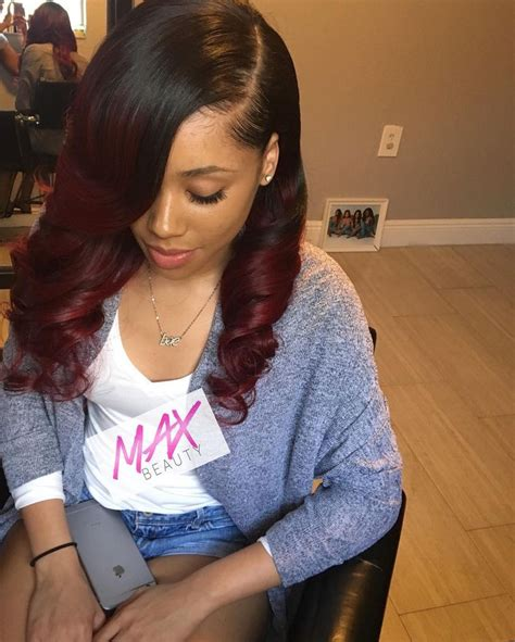 hair sew in styles black cherry sew in with curls using 4 bundles of 2114