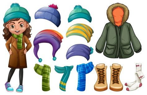 Girl And Different Types Of Winter Clothes Vector