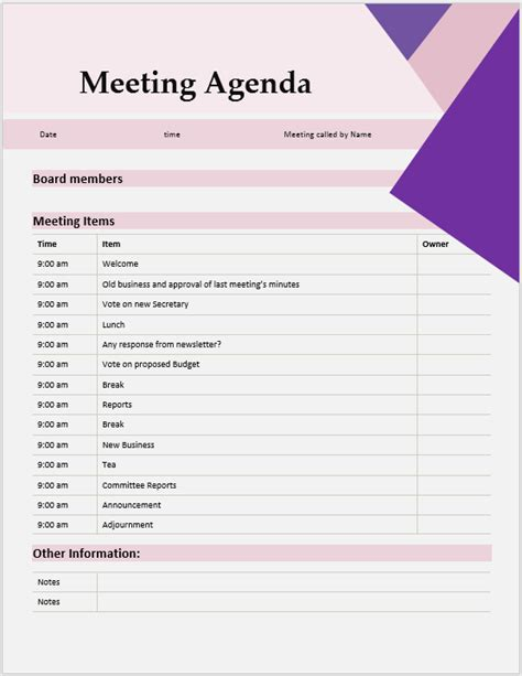 creative meeting agenda template microsoft word templates