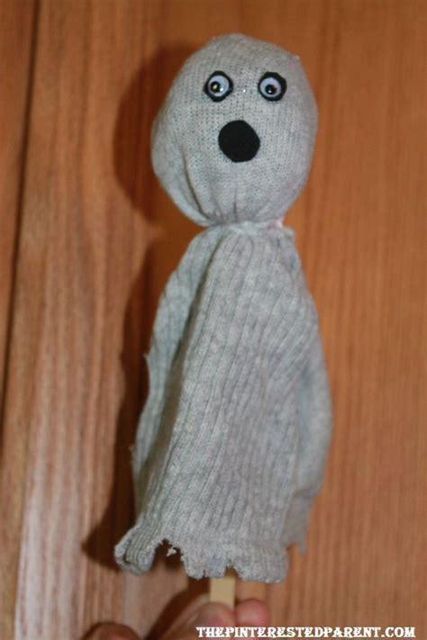 ghost sock puppet kids crafts activities pinterest