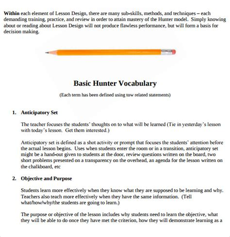 madeline hunter lesson plan templates