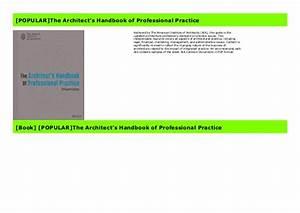 Popular The Architect U0026 39 S Handbook Of Professional Practice